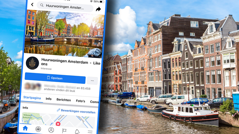 Oplichting met nep-huurwoningen op de Facebookpagina 'Huurwoningen Amsterdam - Like ons'