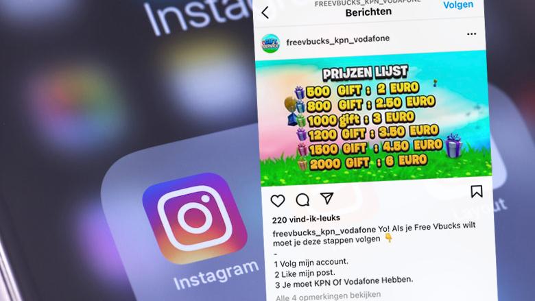 Kinderen opgelicht via Instagram om virtuele Fortnite-valuta V-Bucks: 'Honderden euro's in rekening gebracht'