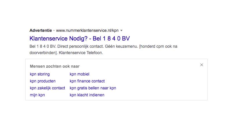 Advertentie voor de klantenservice van KPN, maar dan via 1840 BV