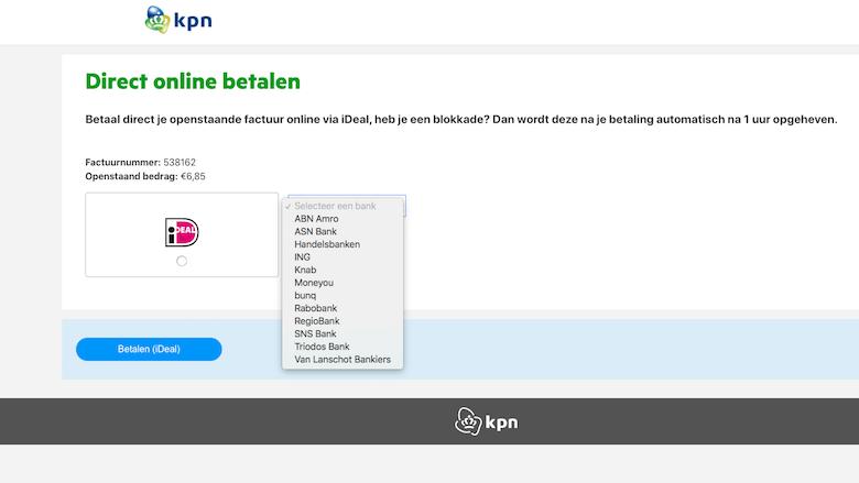 Nagemaakte website van 'KPN'
