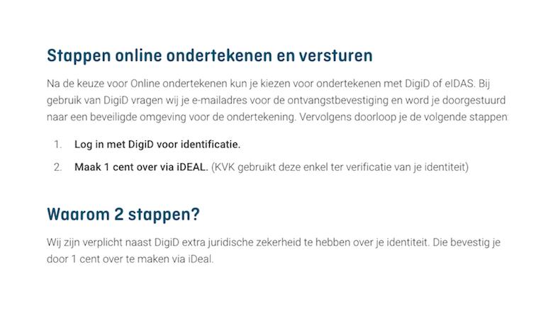 De KvK over DigiD en iDEAL-betalingen ter verifiicatie