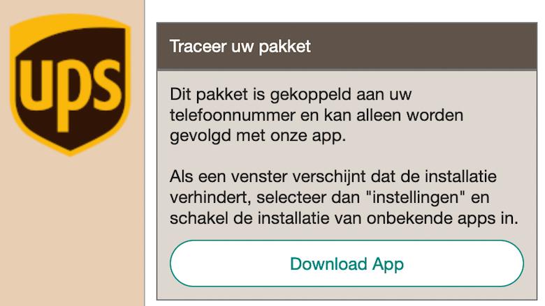 Android-malware aangeboden via 'UPS'