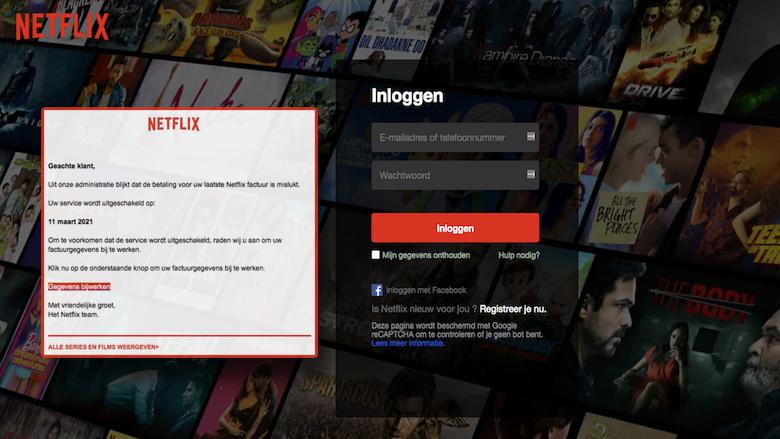 Phishing namens Netflix betreft creditcardfraude: 'Uw laatste factuur kan niet worden verwerkt'