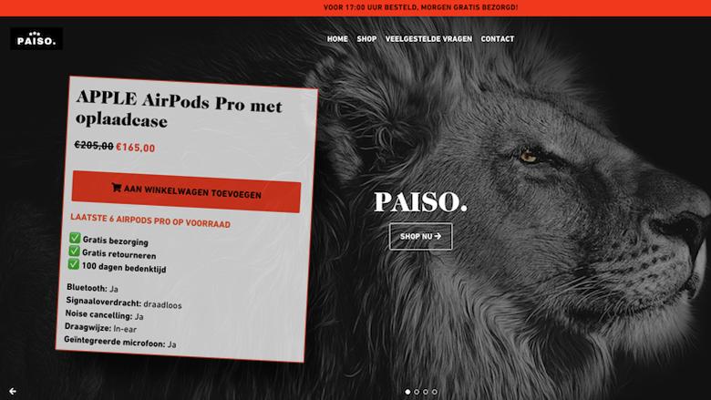 Koop geen Apple AirPods Pro bij de onbetrouwbare webshop Paiso.nl