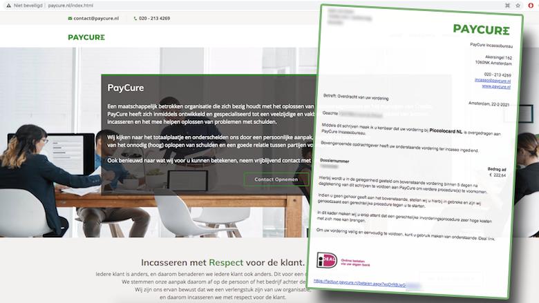 Malafide incassobureau PayCure stuurt per mail zeer dwingende vorderingen: is dat oplichting?