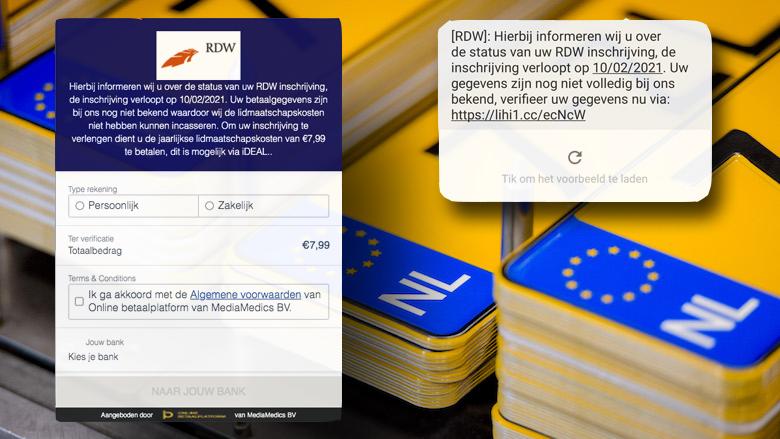 Valse sms namens de RDW: 'Uw inschrijving verloopt, verifieer uw gegevens en betaal lidmaatschapskosten'