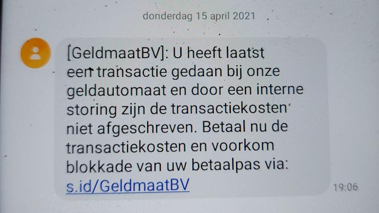 Valse sms uit naam van de Geldmaat