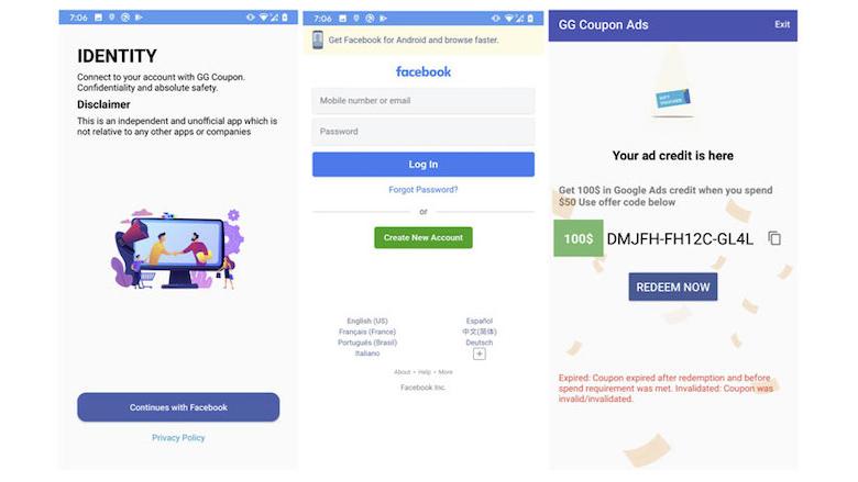 Inloggen bij Facebook om kortingscodes te ontvangen