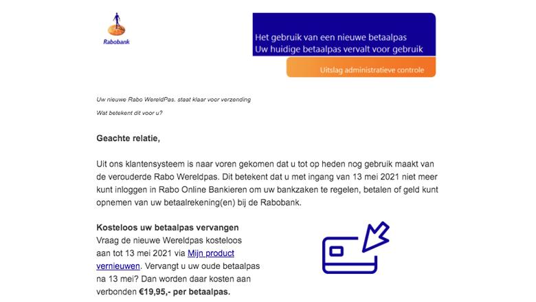 Voorbeeld van een valse e-mail die we zoeken mits de link actief is