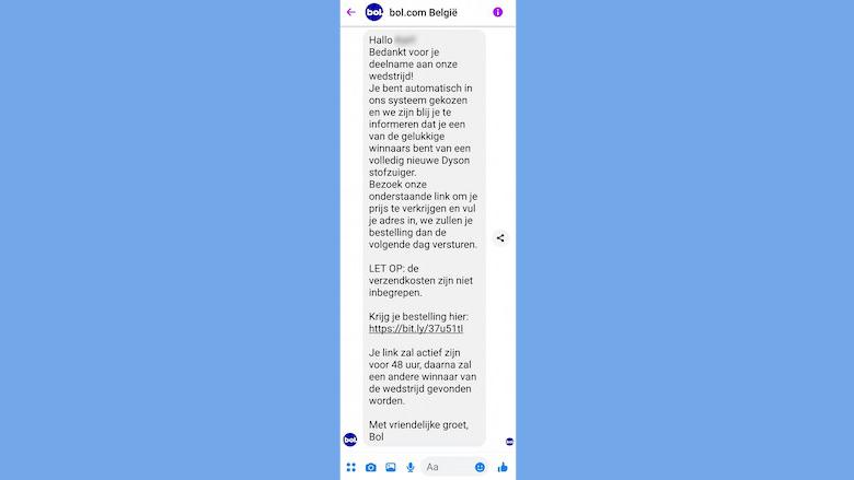 Privébericht van de valse 'Bol.com'-Facebookpagina