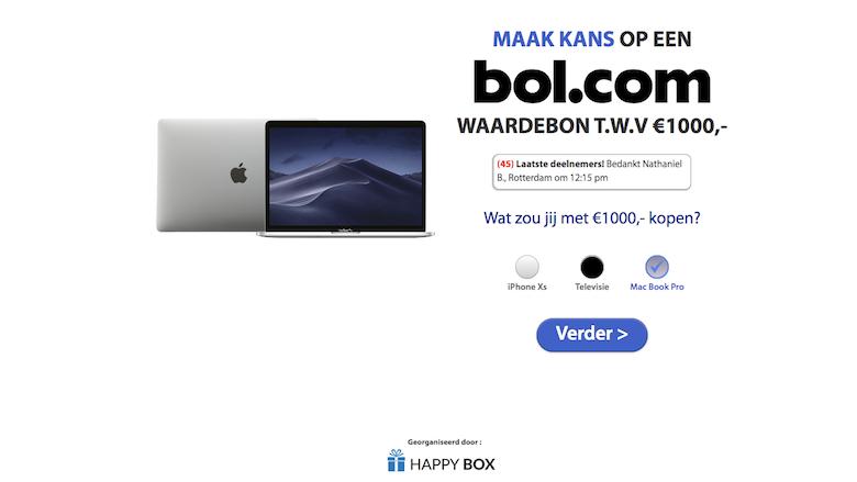 Landingspagina van de misleidende winactie van 'Bol.com'