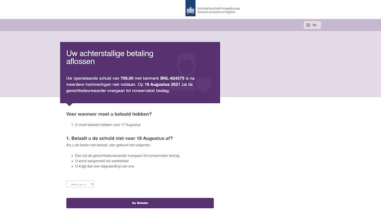 Landingspagina van de valse 'CJIB'-website