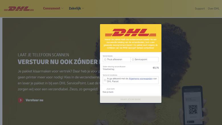 Nagemaakte website van 'DHL'