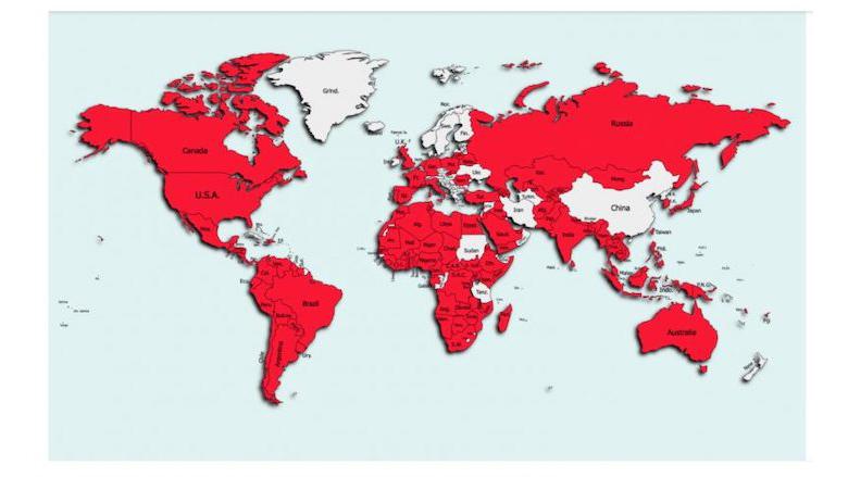Landen waar de FlyTrap-malware voor Android is aangetroffen
