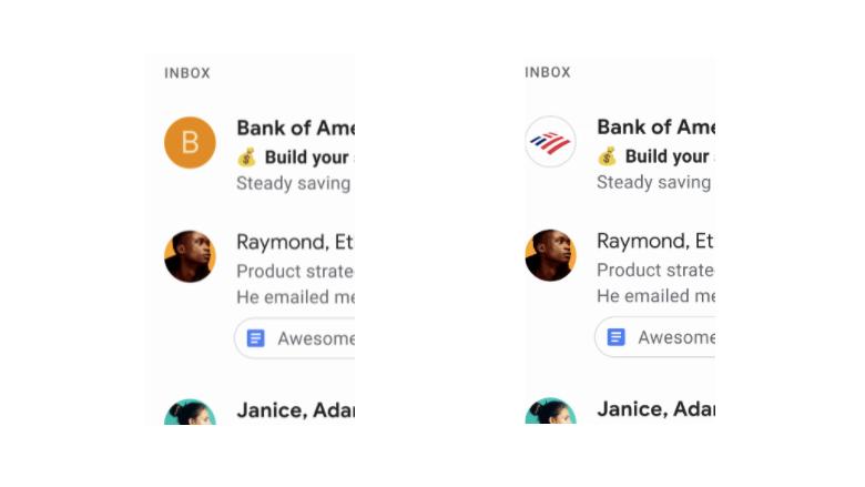 Nieuwe Gmail-functie: links is de oude situatie, rechts de nieuwe
