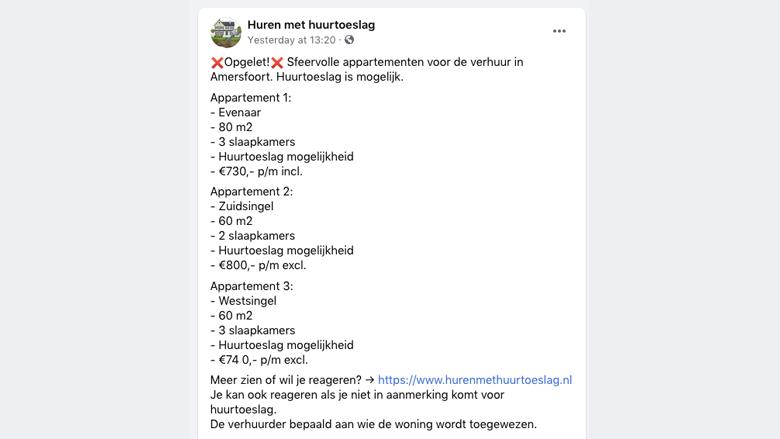 Niet-bestaand woningaanbod op de Facebookpagina van de oplichters