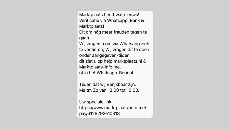 WhatsApp-bericht vol spelfouten van de 'Marktplaats-klantenservice'