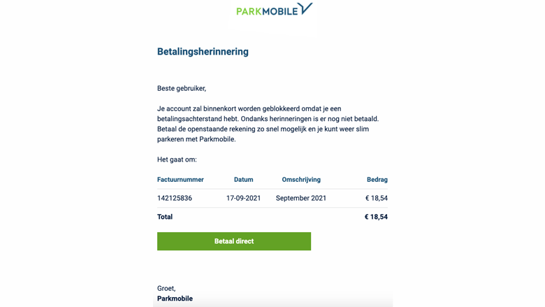 Voorbeeld van een valse mail namens 'Parkmobile'