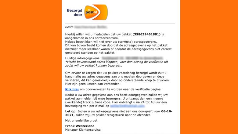 Valse 'PostNL'-mail met talloze – door ons geblurde – persoonsgegevens