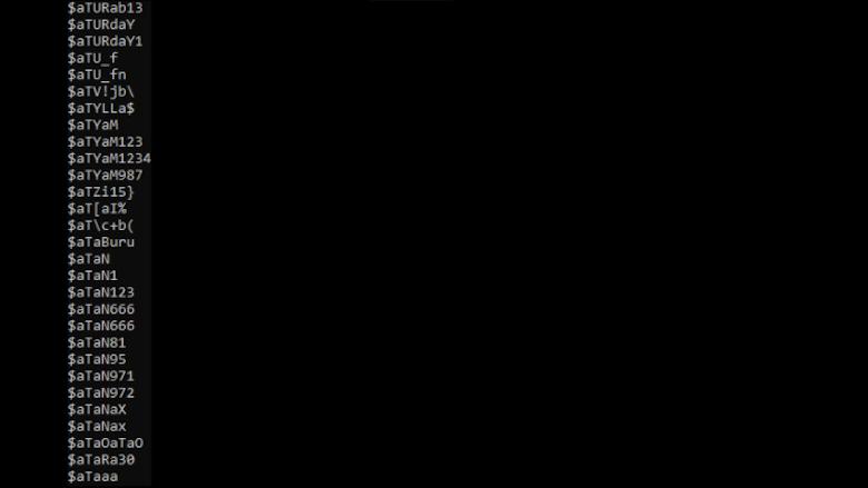 Voorbeelden van gelekte wachtwoorden uit het tekstdocument