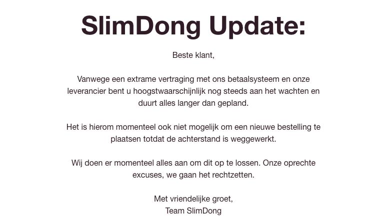 Boodschap op de website van SlimDong