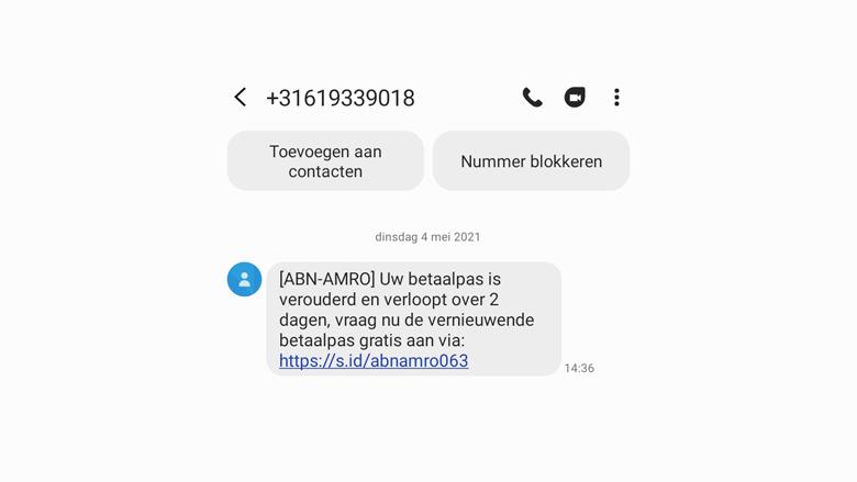 Valse sms van 'ABN AMRO' over een nieuwe betaalpas