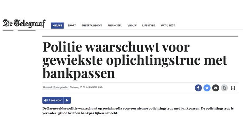 Oorspronkelijke koptekst van De Telegraaf