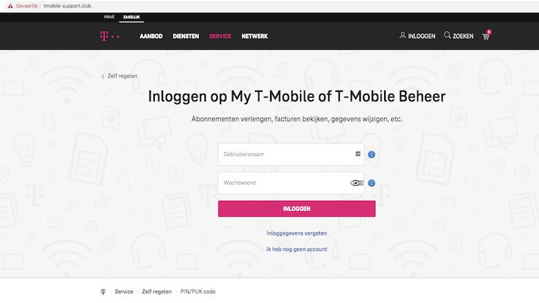 Nagemaakte website van 'T-Mobile', let op de adresbalk
