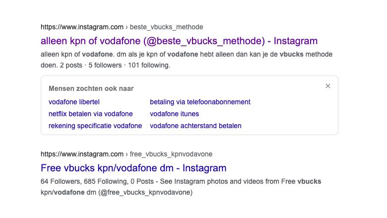 Door Instagram verwijderd oplichtersaccount, wél zichtbaar in Google