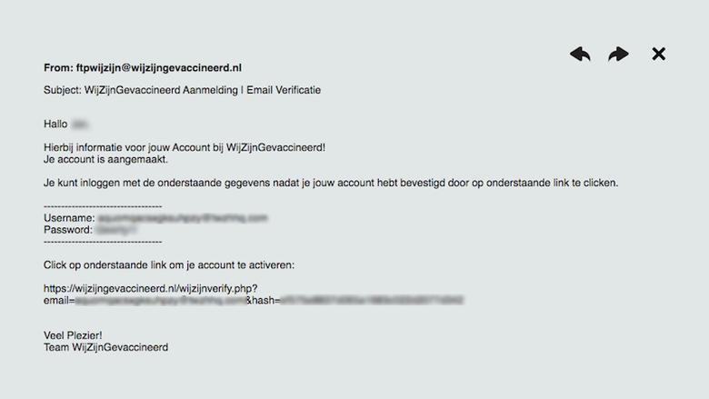 Bevestigingsmail van Wijzijngevaccineerd.nl