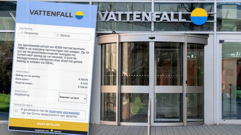 Phishingmail namens 'Vattenfall': 'Uw openstaande schuld van €329 met kenmerk H866 is niet voldaan'