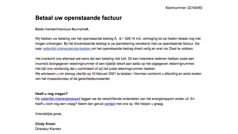 Valse mail namens Vattenfall: let op de aanhef