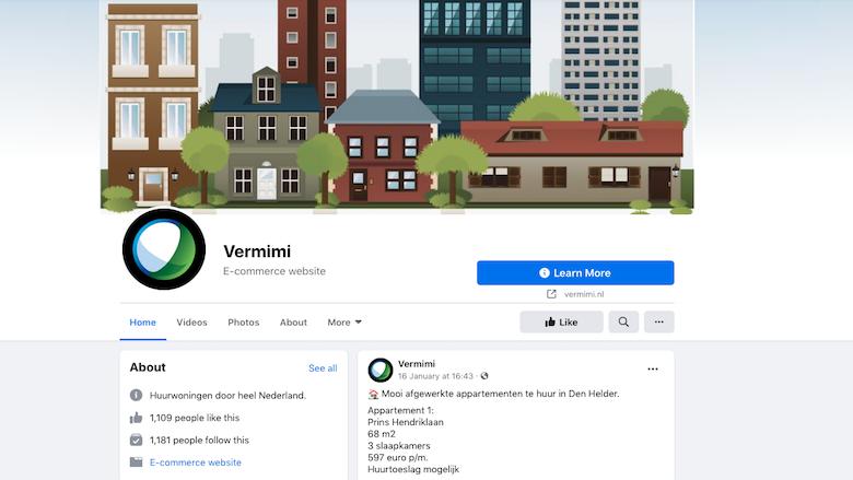 Vermimi.nl doet via Facebook aan oplichting met niet-bestaande huurwoningen