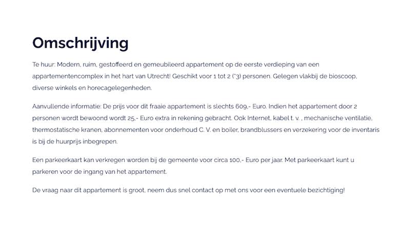 Advertentie voor de woning aan de Oudegracht te Utrecht