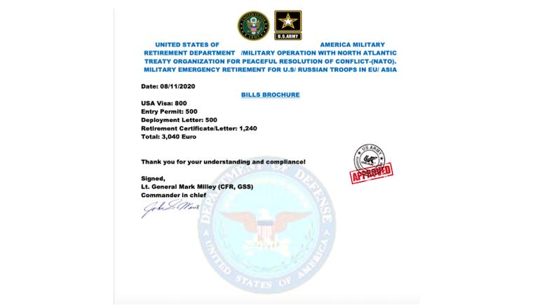Nepcertificaat van de niet-bestaande 'Amerikaanse militair'
