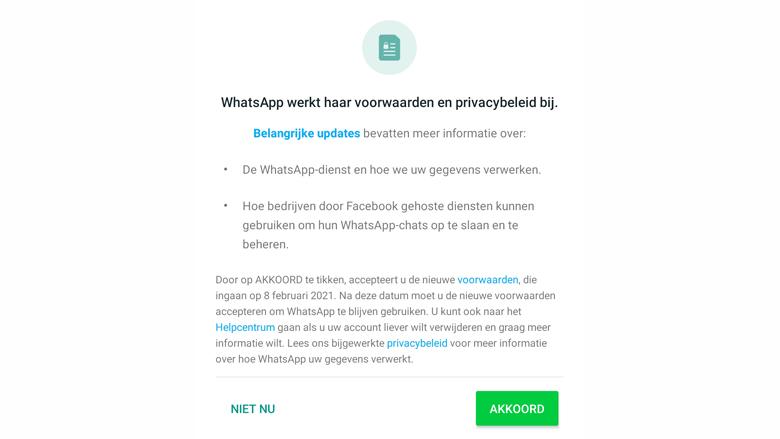 Pop-up in WhatsApp over de nieuwe gebruikersvoorwaarden