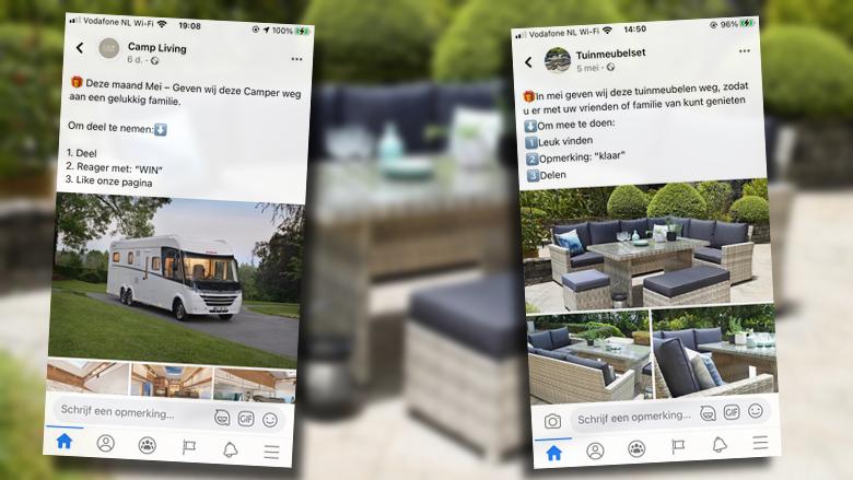Kun je via winacties op Facebook een camper of tuinmeubelen winnen?